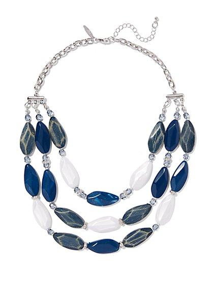 3-Row Faceted Bead Necklace  - New York & Company