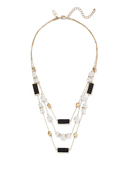 3-Row Faux-Pearl Layered Necklace  - New York & Company