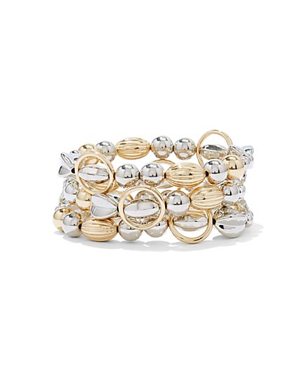 3-Row Goldtone & Silvertone Stretch Bracelet  - New York & Company