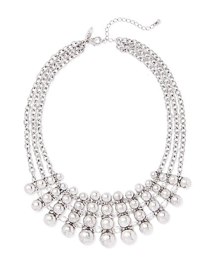 3-Row Silvertone Bib Necklace  - New York & Company