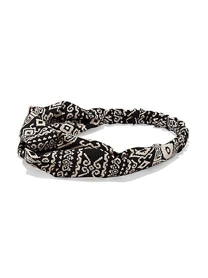 4-Piece Mini Hair Clip Set / Aztec-Print Headwrap  - New York & Company