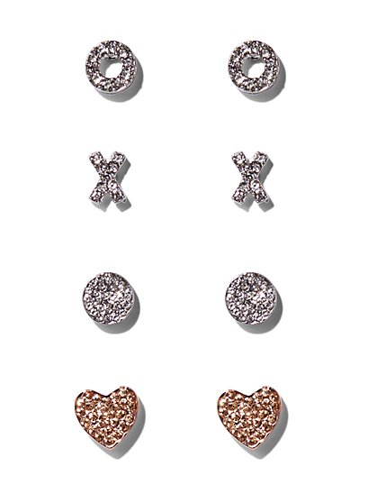 4-Piece Pavé Post Earring Set  - New York & Company