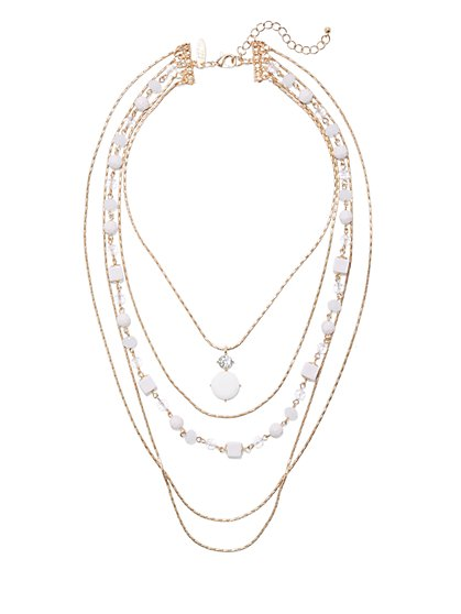 4-Row Beaded Pendant Necklace  - New York & Company