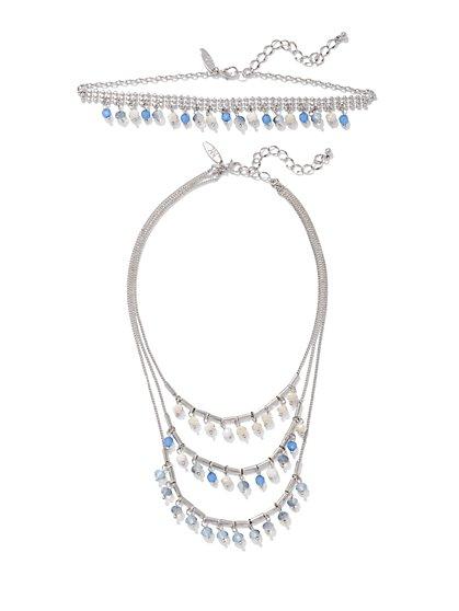 4-Row Beaded Statement Necklace  - New York & Company