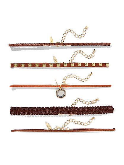5-Piece Choker Necklace Set - Brown  - New York & Company
