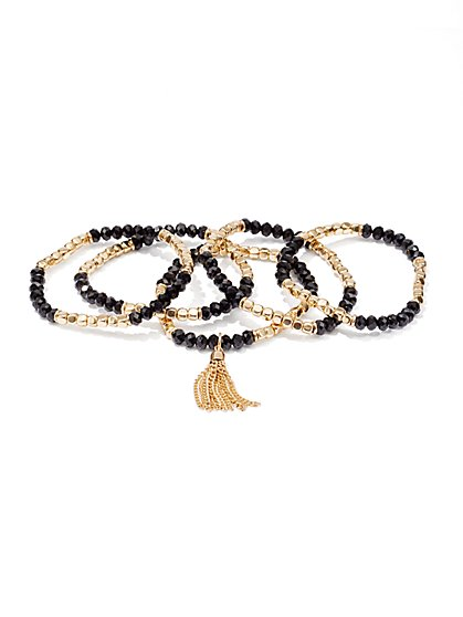 5-Row Beaded Tassel Stretch Bracelet Set  - New York & Company
