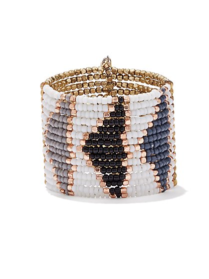 5-Row Faux-Pearl & Beaded Stretch Bracelet Set / Beaded Cuff - New York & Company