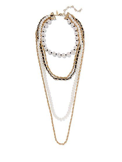 5-Row Faux-Pearl Necklace  - New York & Company