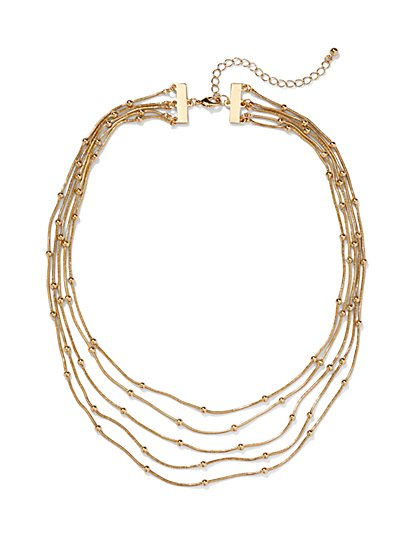 5-Row Metal and Bead Necklace - New York & Company