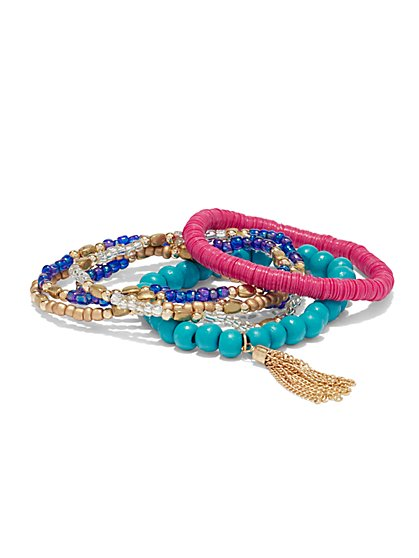 6-Piece Beaded Stretch Bracelet Set  - New York & Company