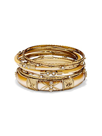 6-Piece Goldtone Bangle Set  - New York & Company
