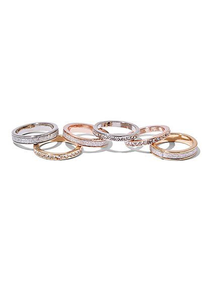 6-Piece Pavé Ring Set  - New York & Company
