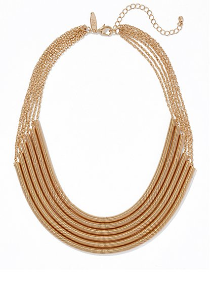 6-Row Goldtone Necklace  - New York & Company