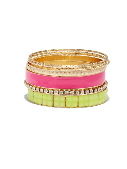 7-Piece Goldtone Bangle Bracelet Set  - New York & Company