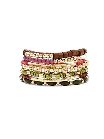 7-Row Beaded Stretch Bracelet  - New York & Company