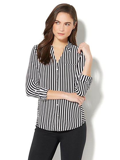 7th Avenue - 3/4-Sleeve Knit Shirt - Black & White Stripe - New York & Company