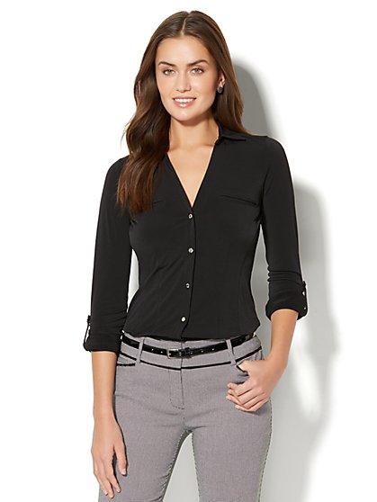 7th Avenue - 3/4-Sleeve Knit Shirt - New York & Company