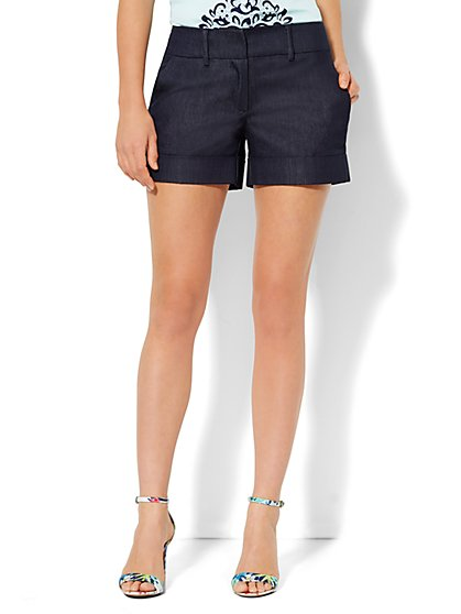 7th Avenue 4'' Cuffed Short - Hidden Blue - New York & Company