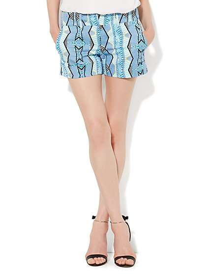 7th Avenue 4'' Cuffed Short - Linear Print  - New York & Company