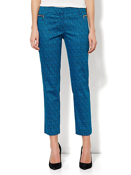 7th Avenue Ankle Pant - Zip Slim Leg - Abstract-Weave Print