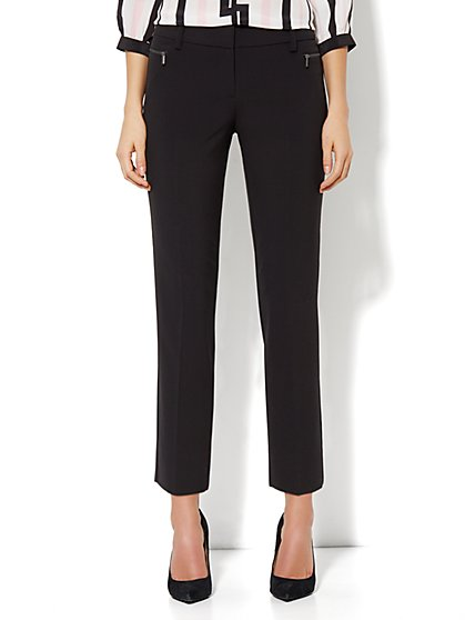7th Avenue Ankle Pant - Zip Slim Leg - Black