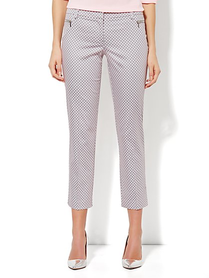 7th Avenue Ankle Pant - Zip Slim Leg - Diamond Print - Gentle Pink