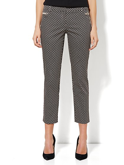 7th Avenue Ankle Pant - Zip Slim Leg - Diamond Print