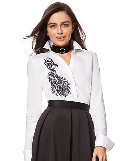 7th Avenue - Beaded & Lace-Accent Madison Stretch Shirt - New York & Company