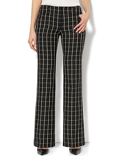 7th Avenue Bootcut Pant - Black & Yellow Plaid - New York & Company