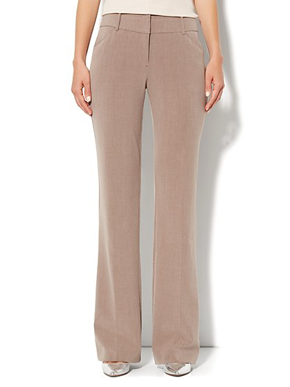 7th Avenue Bootcut Pant - Pale Mocha Heather - Petite - New York & Company