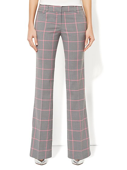 7th Avenue Bootcut Pant - Pink Windowpane Print
