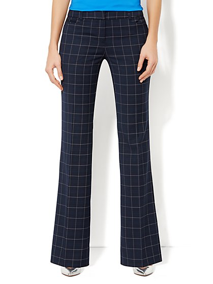 7th Avenue Bootcut Pant - Windowpane Print
