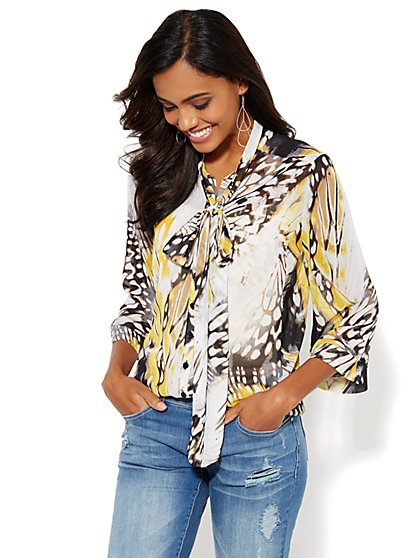 7th Avenue Bow-Front Blouse - Butterfly  - New York & Company
