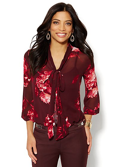 7th Avenue Bow-Front Blouse - Floral  - New York & Company