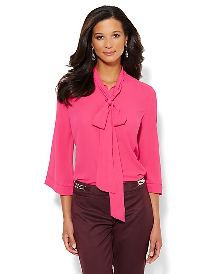 7th Avenue Bow-Front Blouse - New York & Company