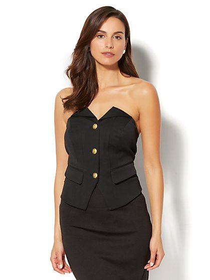 7th Avenue - Button-Front Corset Top - New York & Company