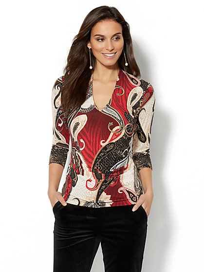 7th Avenue - Chain-Link Detail Shirred Top - Print - New York & Company