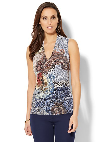 7th Avenue - Chain-Link Detail Sleeveless Shirred Top - Mixed Print - New York & Company