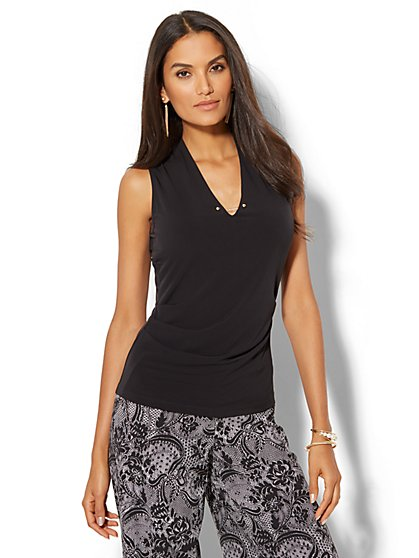 7th Avenue - Chain-Link Detail Sleeveless Shirred Top - New York & Company