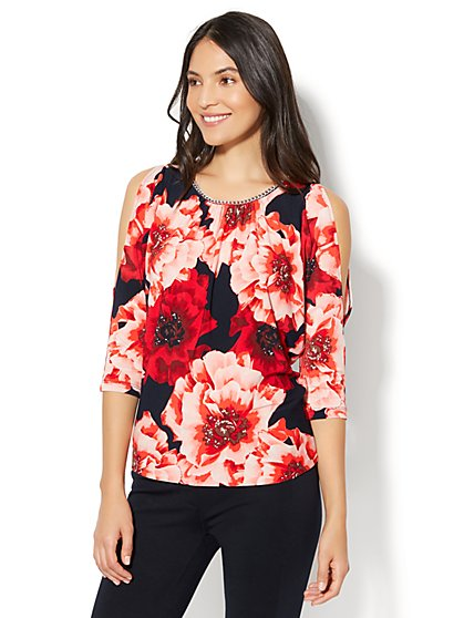 7th Avenue - Chain-Link Trim Cold-Shoulder Blouse - Red - New York & Company