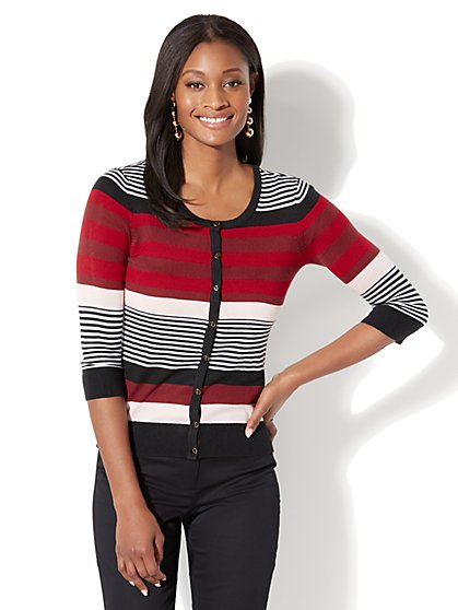 7th Avenue - Chelsea Crewneck Cardigan - Stripe - New York & Company