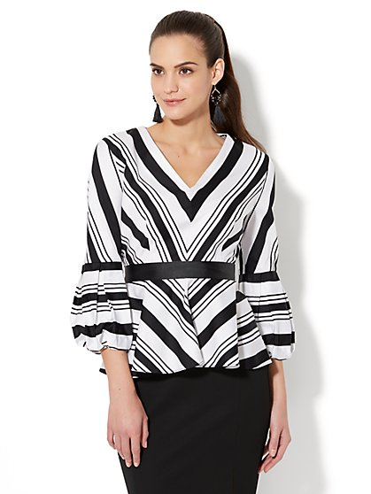 7th Avenue - Chevron-Stripe Peplum Shirt - New York & Company