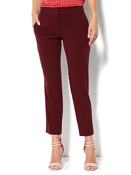 7th Avenue City Double Stretch Slim Ankle Pant - Black Cherry - New York & Company