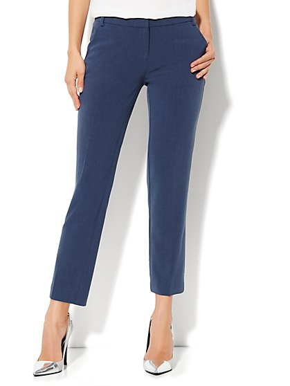 7th Avenue City Double Stretch Slim Ankle Pant - Blue Heather - New York & Company