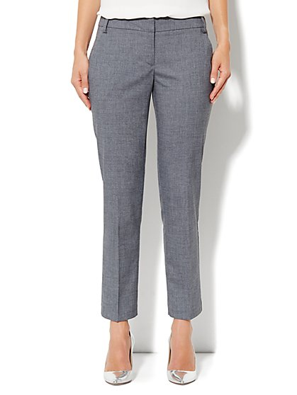 7th Avenue City Double Stretch Slim Ankle Pant - Carlson Grey - New York & Company