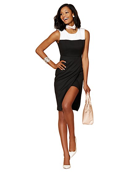 7th Avenue City Slim Colorblock Faux-Wrap Sheath Dress  - New York & Company