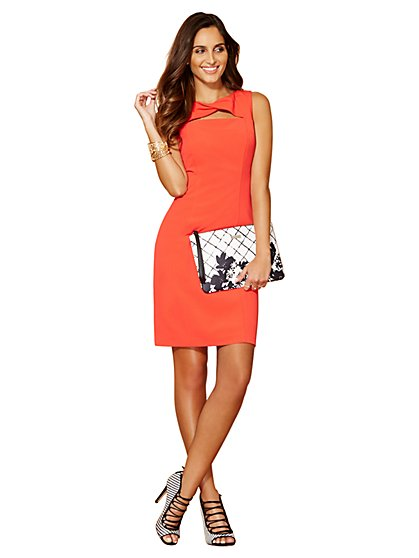 7th Avenue City Slim Sheath Dress - Cutout & Twist Detail  - New York & Company