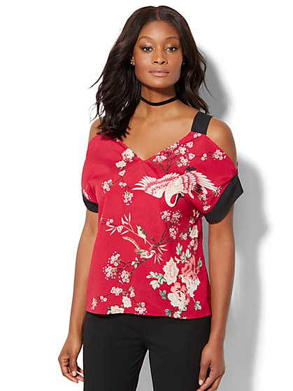 7th Avenue - Cold-Shoulder Blouse - Bird & Floral Print - New York & Company