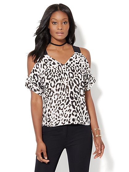 7th Avenue - Cold-Shoulder Blouse - Leopard Print  - New York & Company