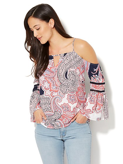 7th Avenue - Cold-Shoulder Blouse - Paisley Print - Petite - New York & Company